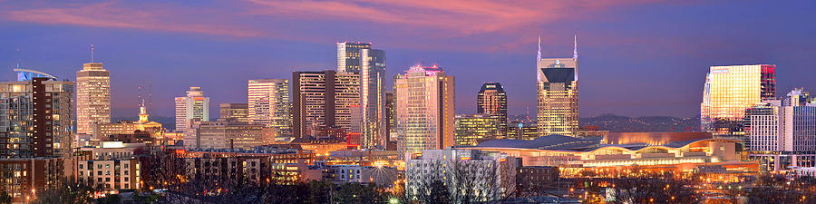 Nashville Skyline at Dusk 2018 1 to 4 Ratio Panorama Color by Jon Holiday