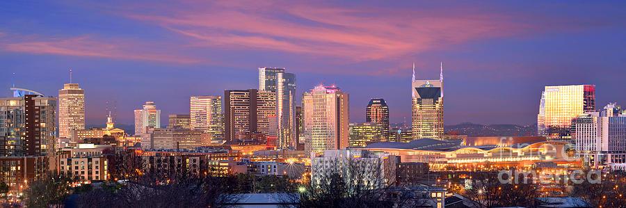 Nashville Photograph - Nashville Skyline at Dusk 2018 Panorama Color by Jon Holiday