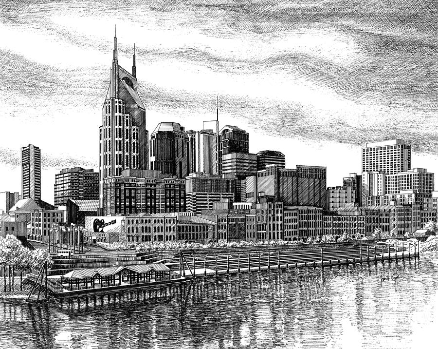Cities Drawing - Nashville Skyline Ink Drawing by Janet King