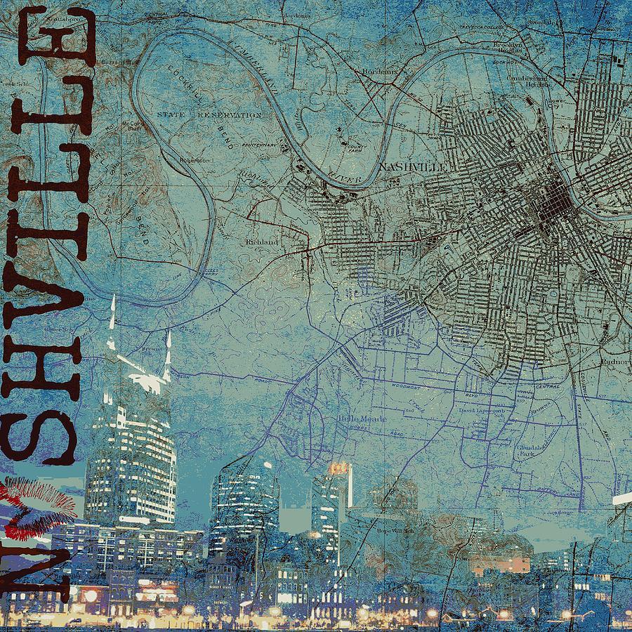 Brandi Fitzgerald Digital Art - Nashville Skyline Map by Brandi Fitzgerald