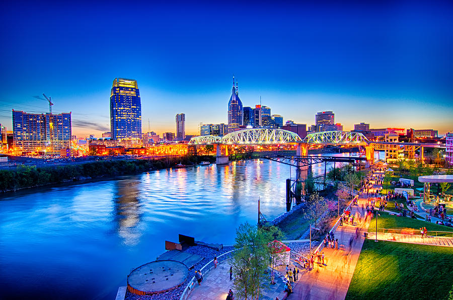 Nashville Tennessee Downtown Skyline At Shelby Street