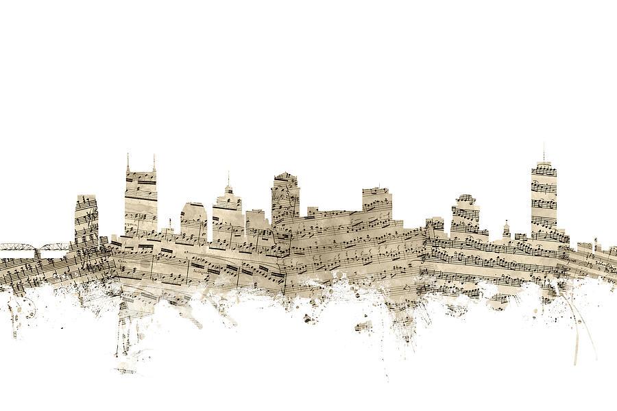 Nashville Digital Art - Nashville Tennessee Skyline Sheet Music by Michael Tompsett