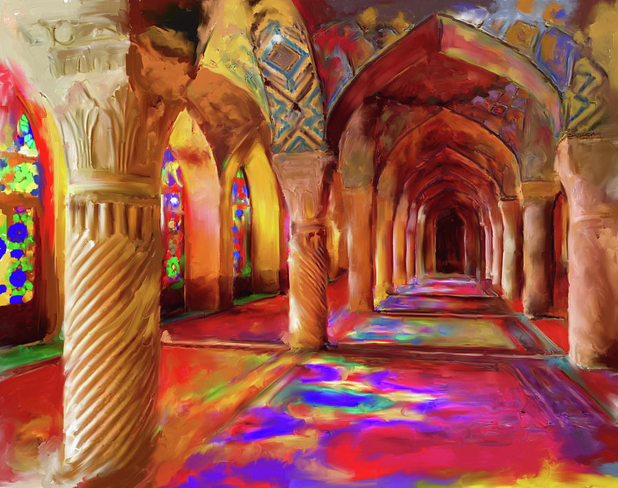 Islamic Architecture Painting - Nasir Ol Mulk Mosque 682 1 by Mawra Tahreem