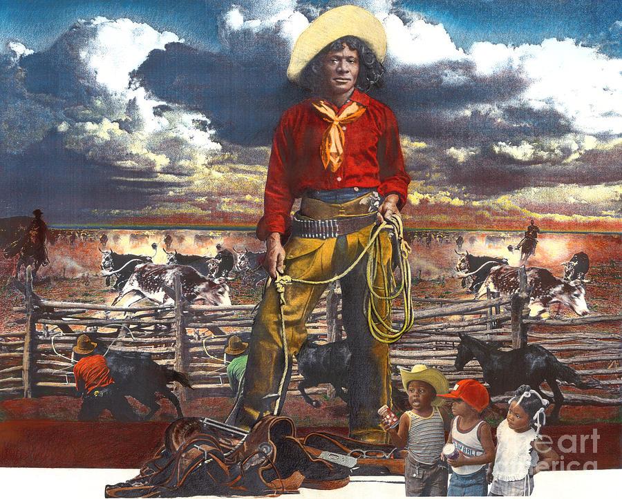 Cowboy Mixed Media - Nat Love And Three Little Cowpokes by Ken Falana