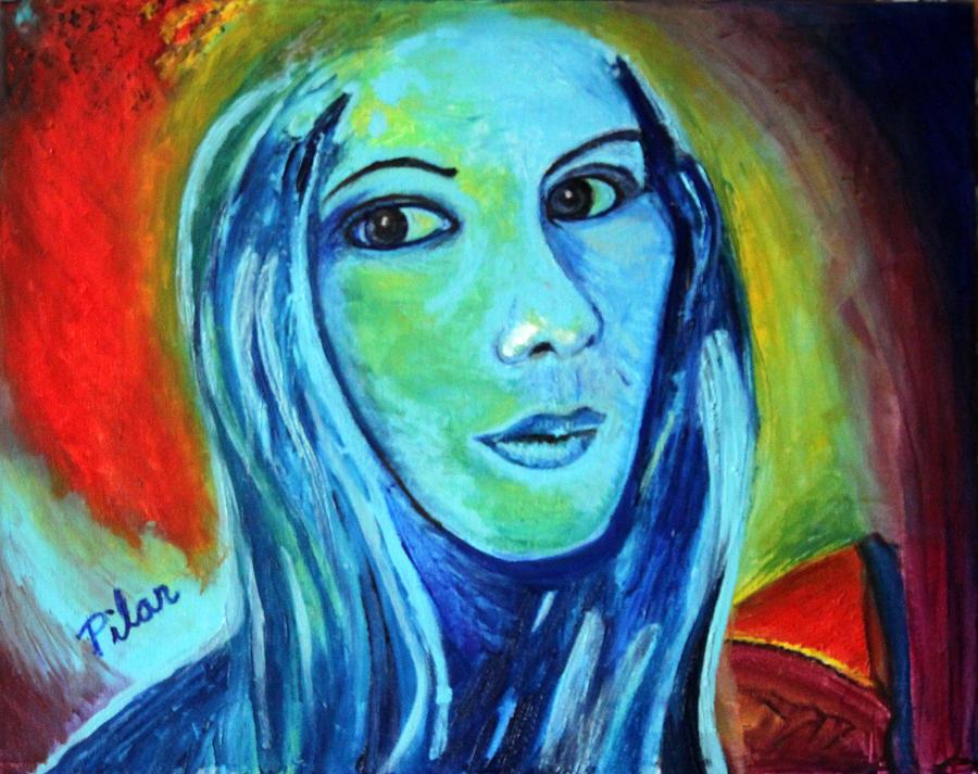 Beautiful Painting - Natasha In Blue by Pilar  Martinez-Byrne