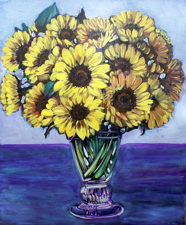 Sunflower Painting - Natashas Sunflowers by Sheila Tajima