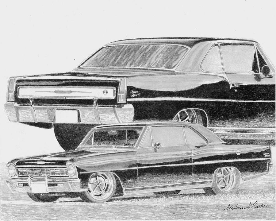 Nathan Powell\'s 1966 Chevrolet Nova Ss Classic Car Art Print Drawing ...