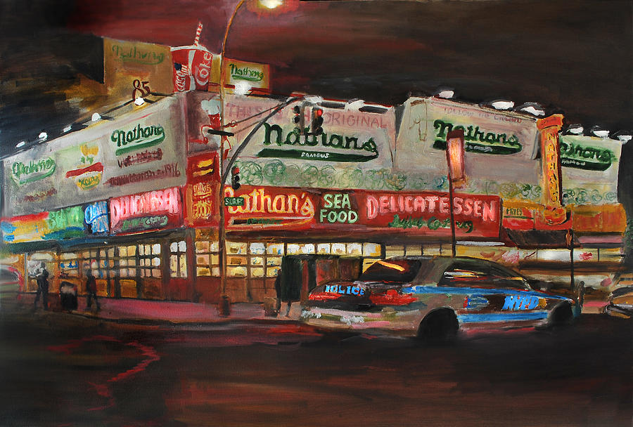 New York City Painting - Nathans by Wayne Pearce