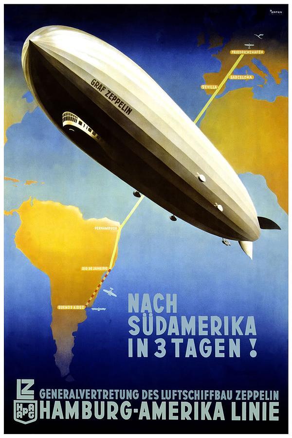 Airship To South America - Hamburg - America Line - Retro Travel Poster - Vintage Poster Mixed Media