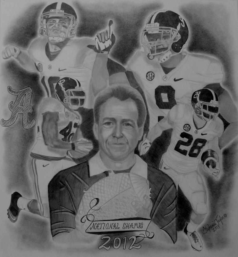 Crimson Tide Drawing - National Champs 2012 by Stephanie Taylor