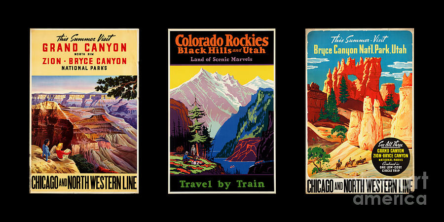 Vintage Poster Photograph - National Parks Posters by Restored archives