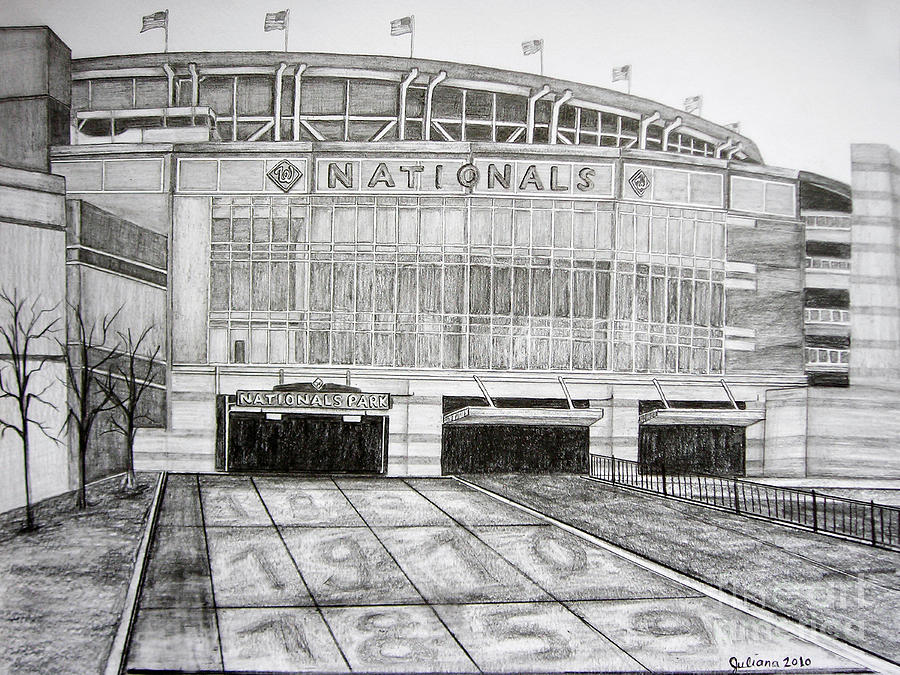 Nationals Park Drawing - Nationals Park by Juliana Dube
