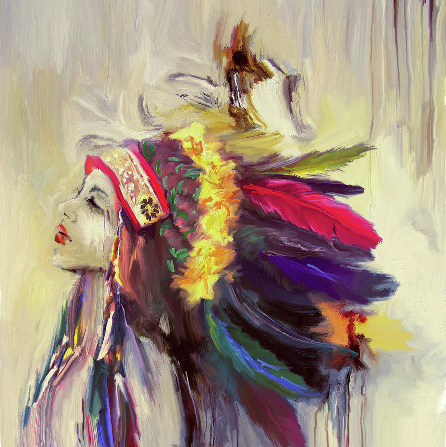 Red Indian Painting - Native American 274 3 by Mawra Tahreem