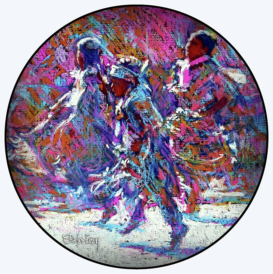 Native American Pastel - Native American - 3 Young Children Pow Wow Dancing by Carlos Frey