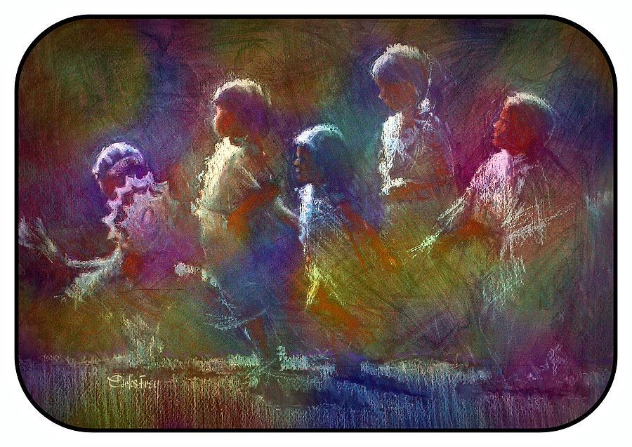 Native American Pastel - Native American - 5 Girls Dancing In The Moonlight by Carlos Frey