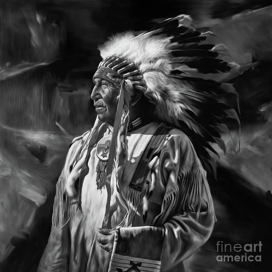 Native american art black and white 01 by gull g