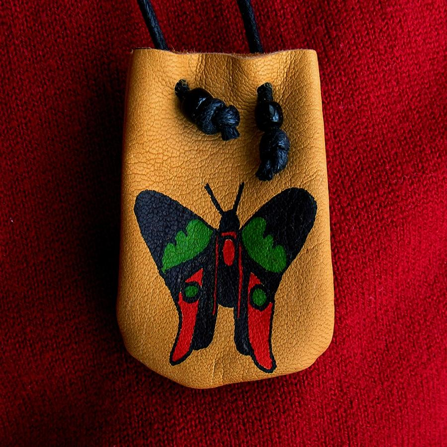 Native American Tapestry - Textile - Native American Butterfly Leather Medicine Bag by Paula Bidwell