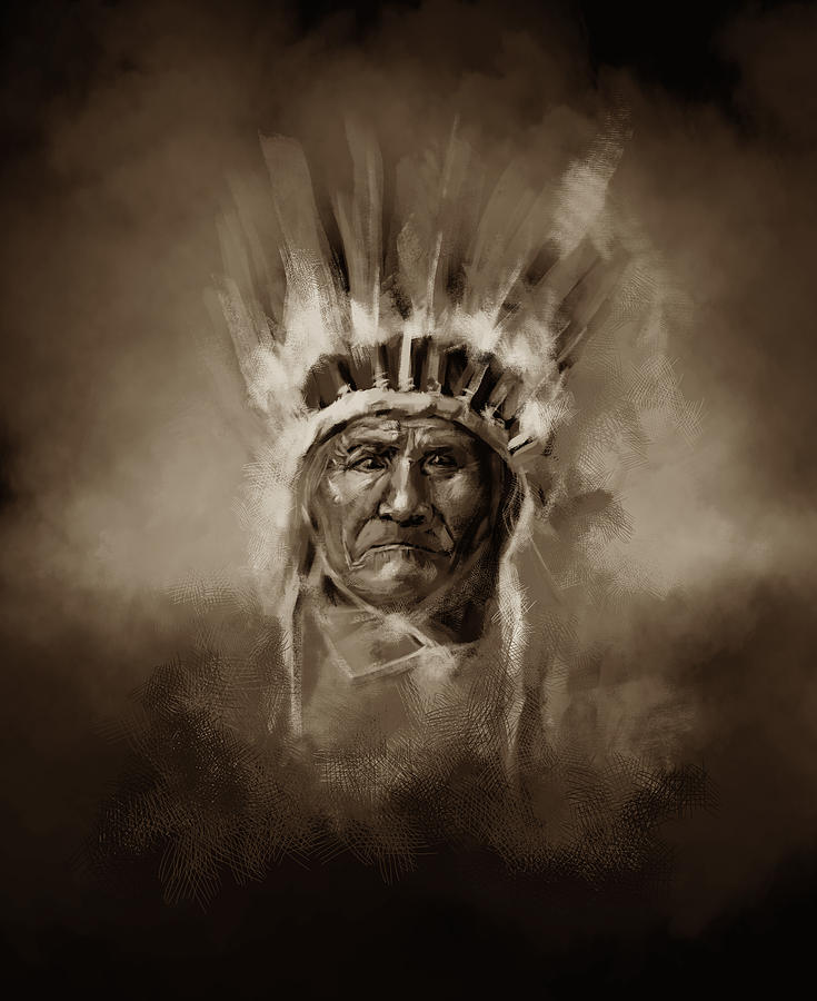 Native Painting - Native American Chief-geronimo 3 by Bekim M