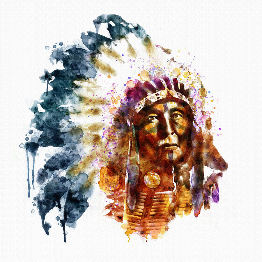native american chief mixed media by marian voicu