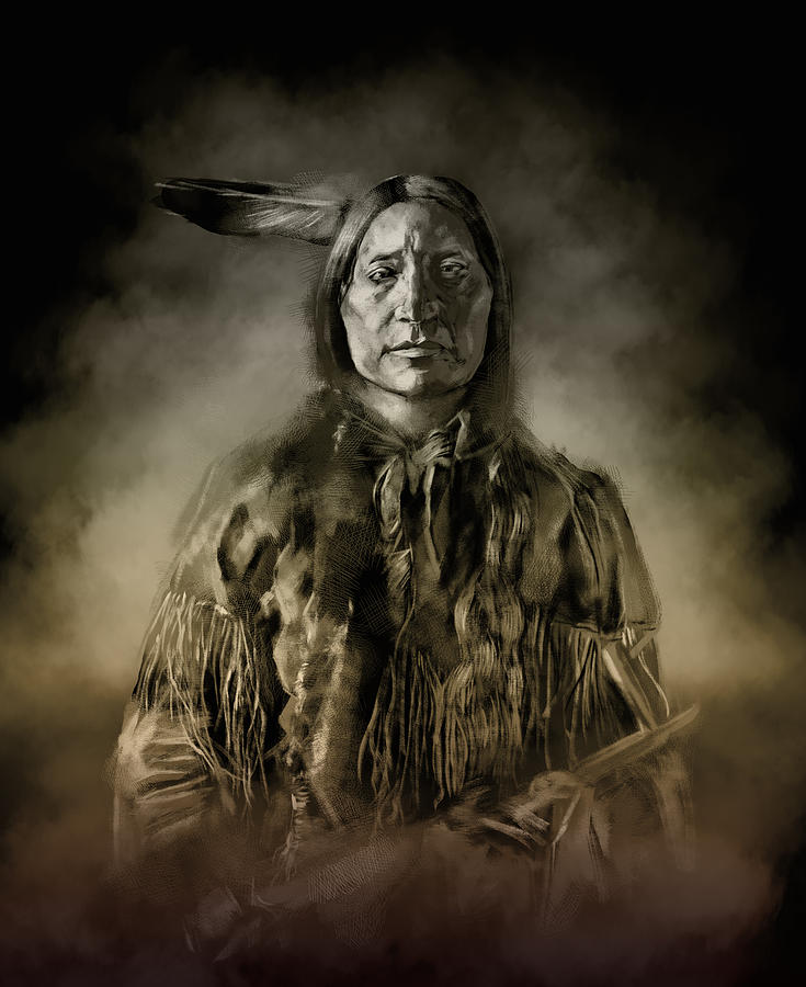 Native Painting - Native American Chief-scabby Bull 2 by Bekim M