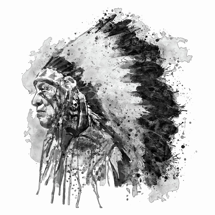 Native american chief side face black and white by marian voicu