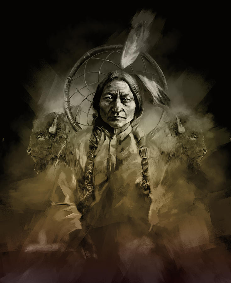 native american chief sitting bull 2 painting by bekim art. Black Bedroom Furniture Sets. Home Design Ideas