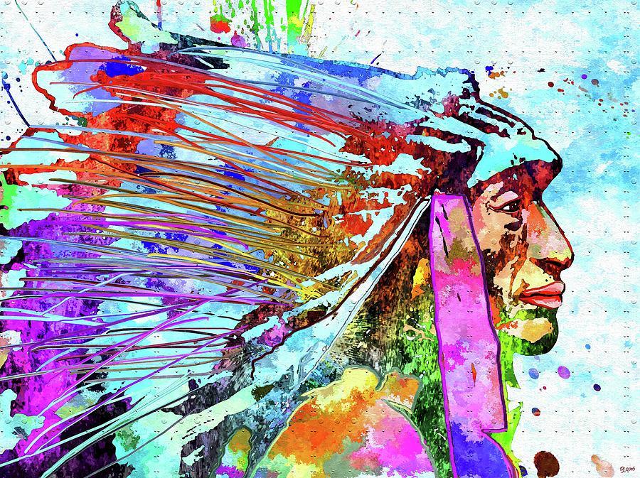 Vintage Mixed Media - Native American Colored Profile  by Daniel Janda
