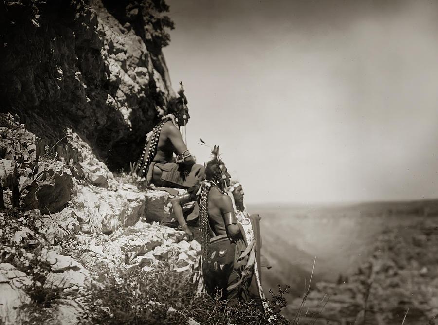 Edward Curtis Photograph - Native American Crow Men On Rock Ledge by Jennifer Rondinelli Reilly - Fine Art Photography