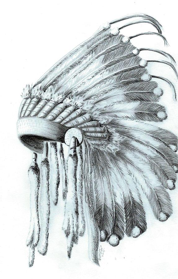 Native American Headdress Drawing by Jennifer Schimmrich