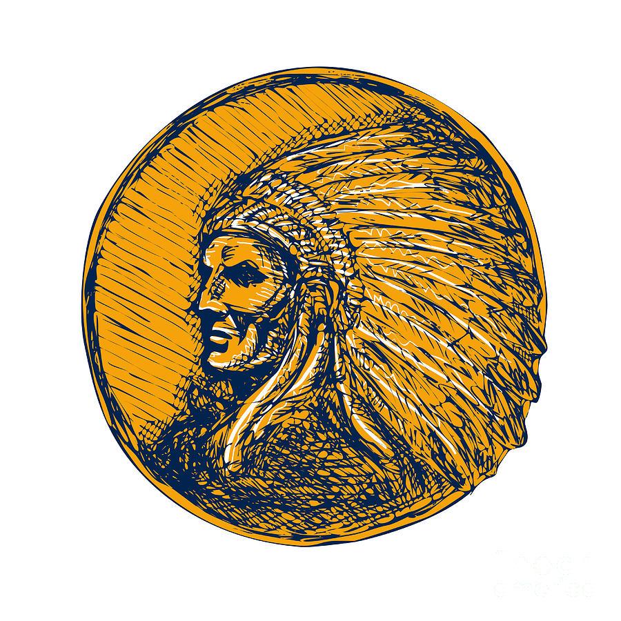 Native American Indian Chief Headdress Drawing Digital Art by ...