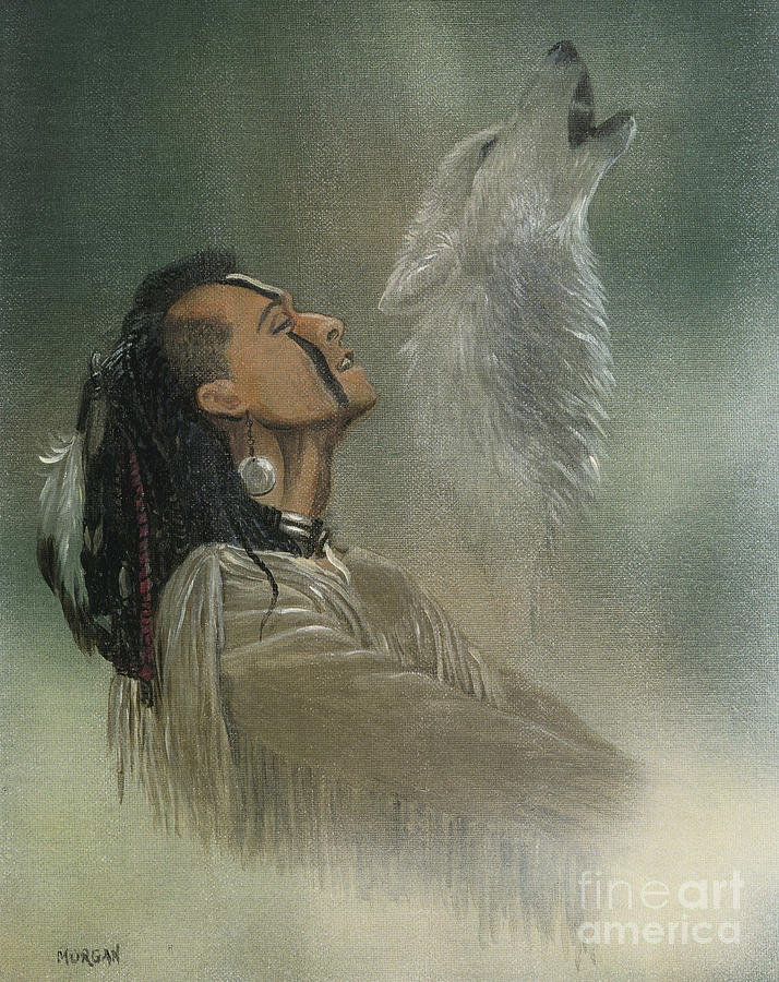 American Painting - Native American Indian by Morgan Fitzsimons