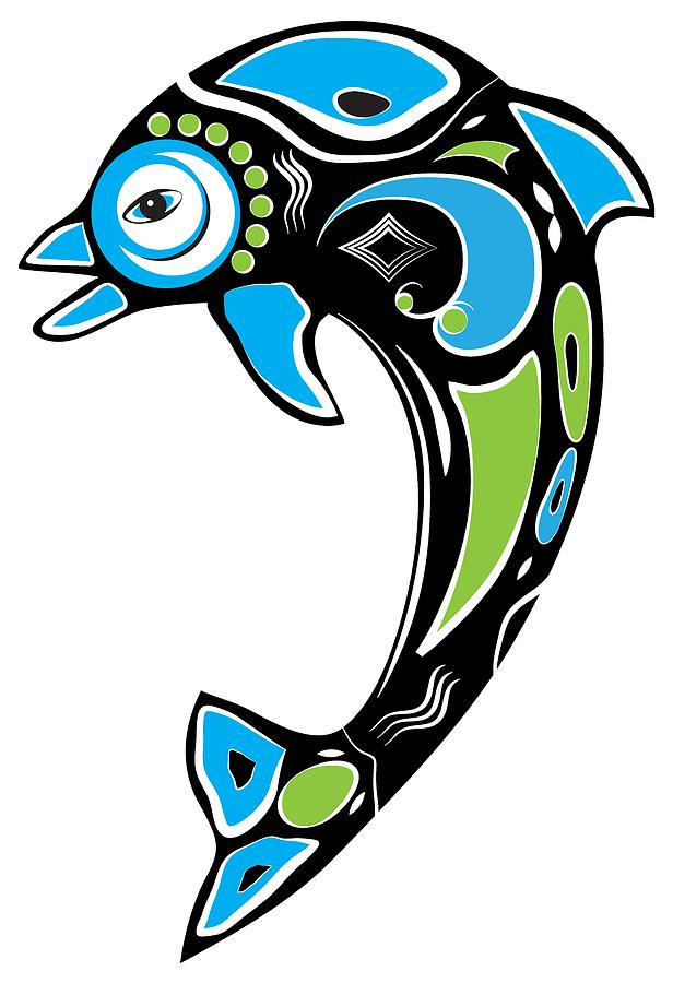 Native American Inspired Dolphin Symbol Digital Art By