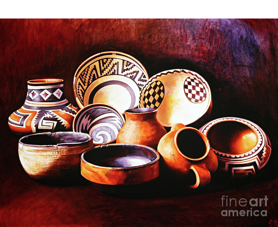 Native American Pottery Painting by Michael Stoyanov