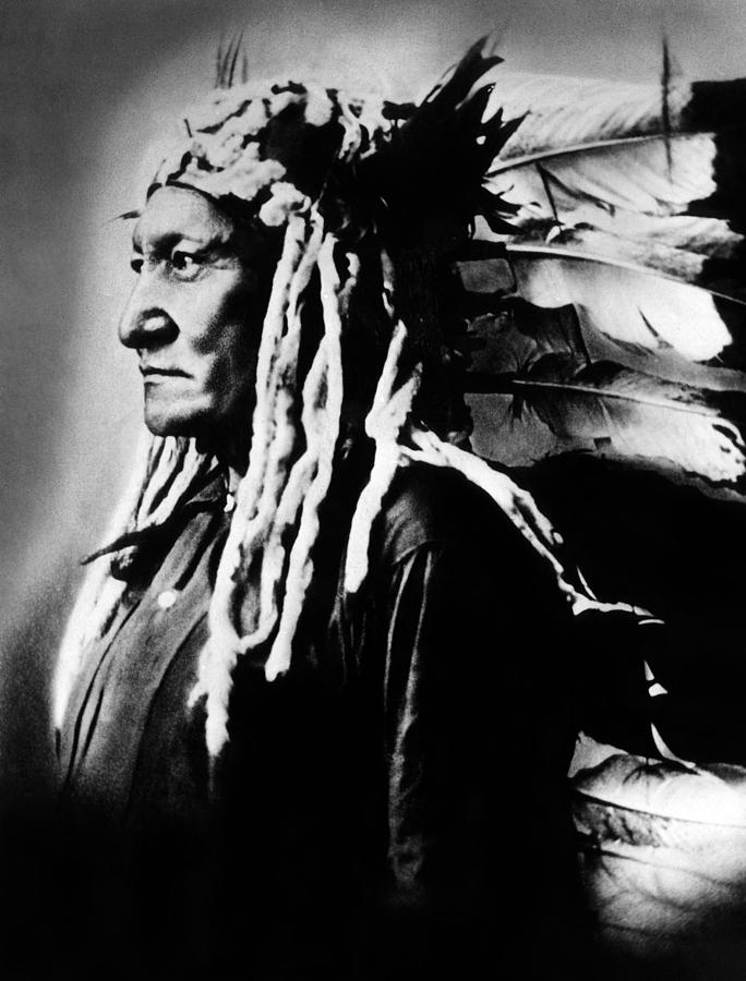 1880s Photograph - Native American Sioux Chief Sitting by Everett