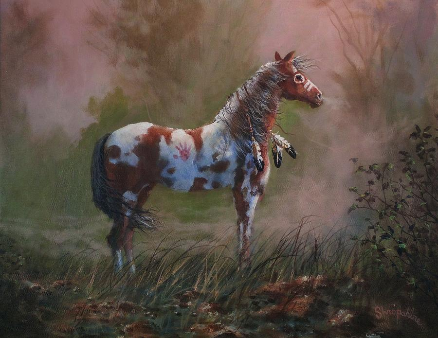Horses Painting - Native American War Pony by Tom Shropshire
