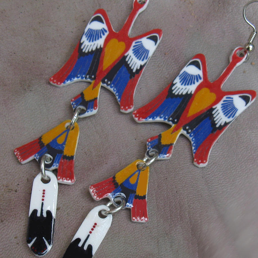 Native American Jewelry - Native American Water Bird Peyote Nac Waterbird Earrings by Paula Bidwell