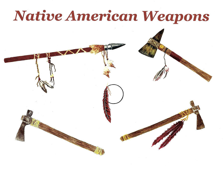 Native American Weapons Painting By Michael Vigliotti