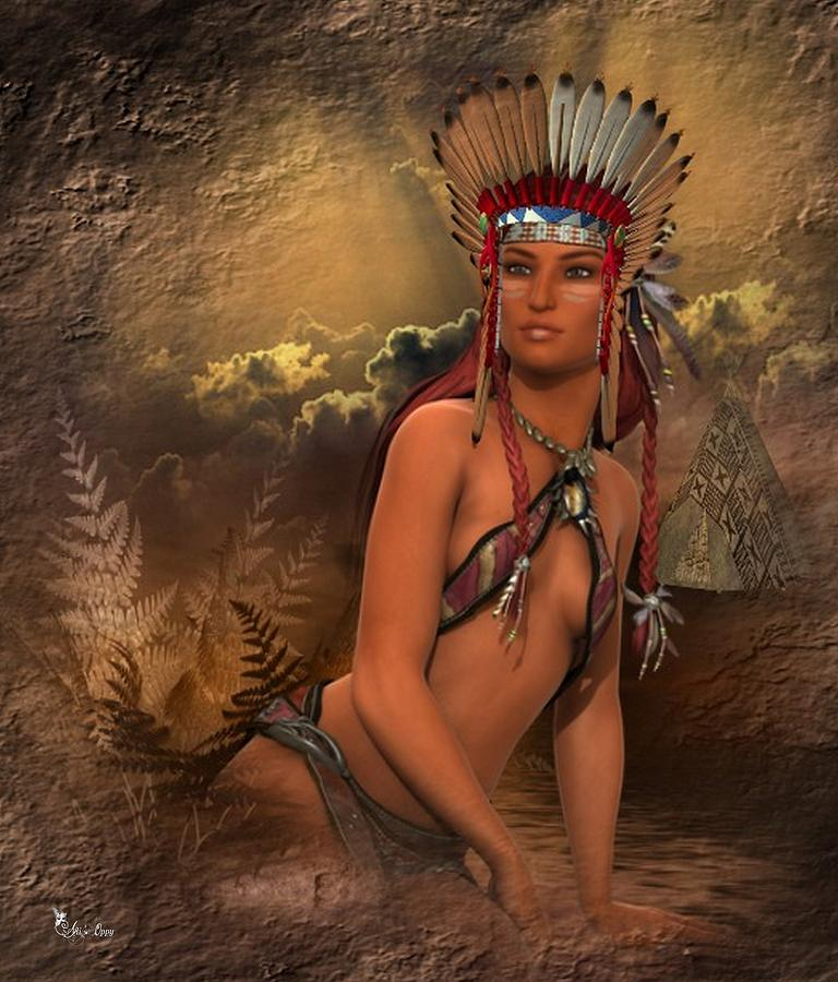Native American Woman Abedabun Digital Art By Ali Oppy