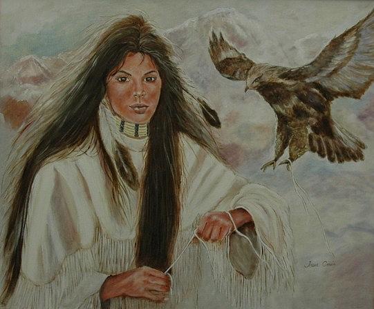 Native Painting - Native American Woman by Tresa Crain