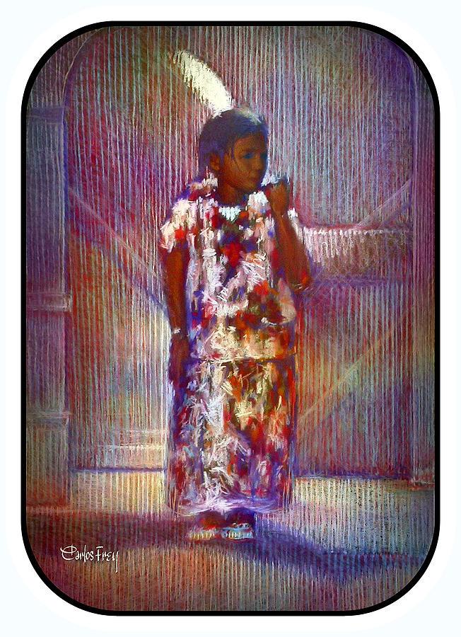 Native American Pastel - Native American - Young Girl Standing In Doorway by Carlos Frey