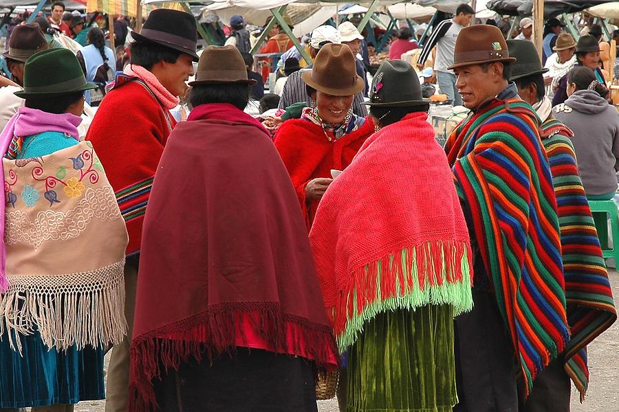 Ecuador Photograph - Native Ecuadorians At Market by Alan Lenk