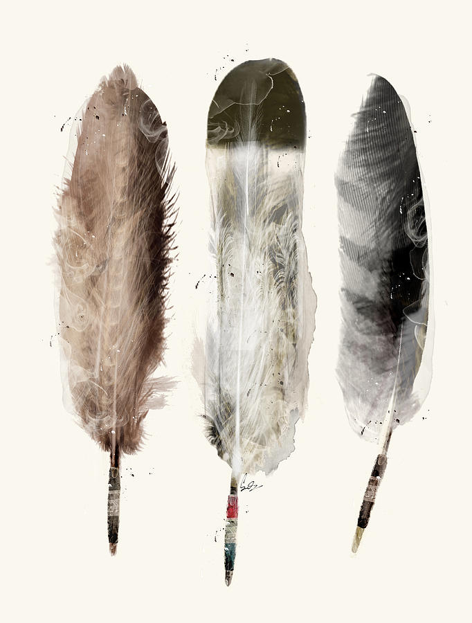 Eagle Feather Painting - Native Feathers by Bri Buckley