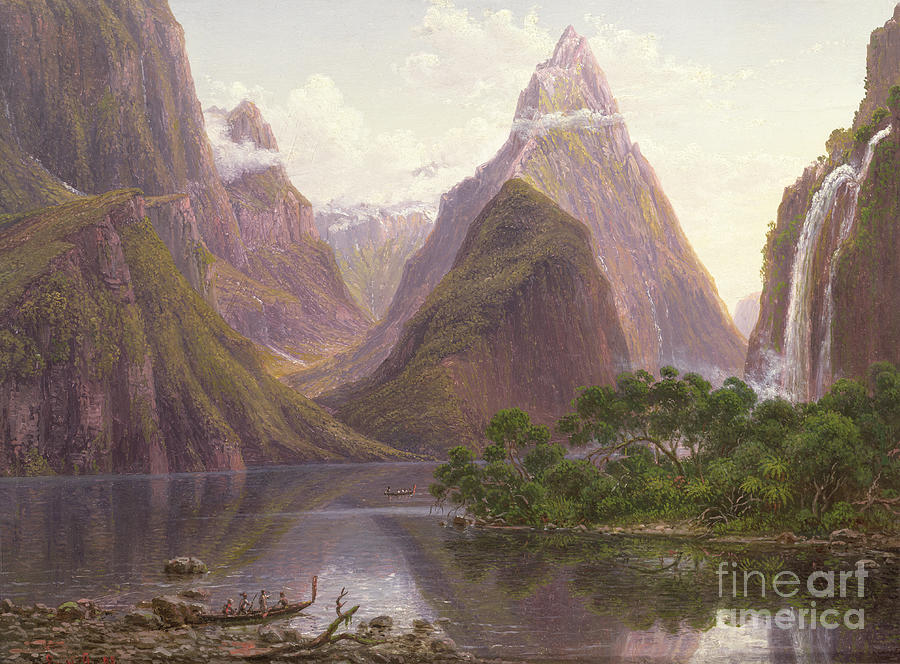 Native Painting - Native Figures In A Canoe At Milford Sound by Eugen von Guerard