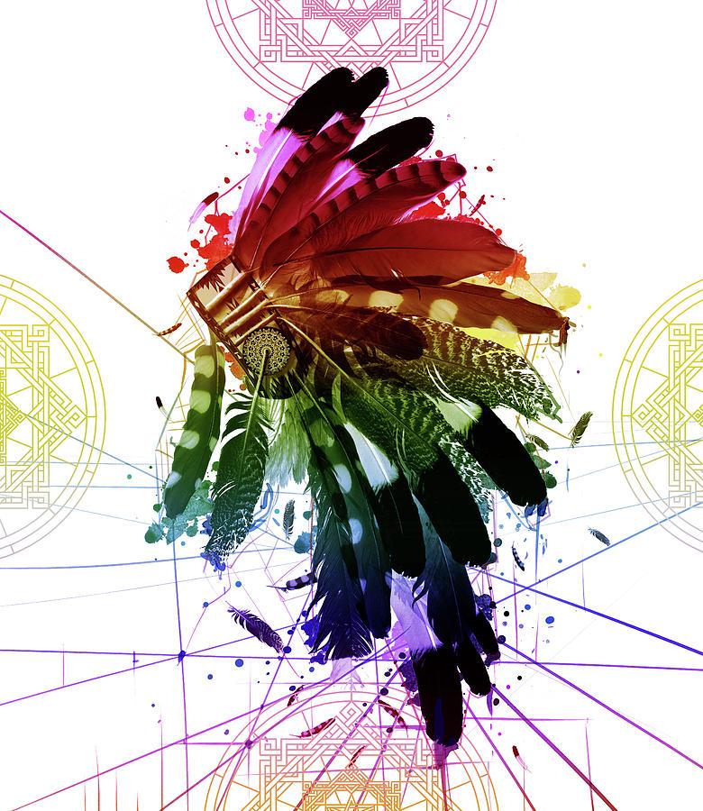 Feathers Digital Art - Native Headdress 2 by Bekim M
