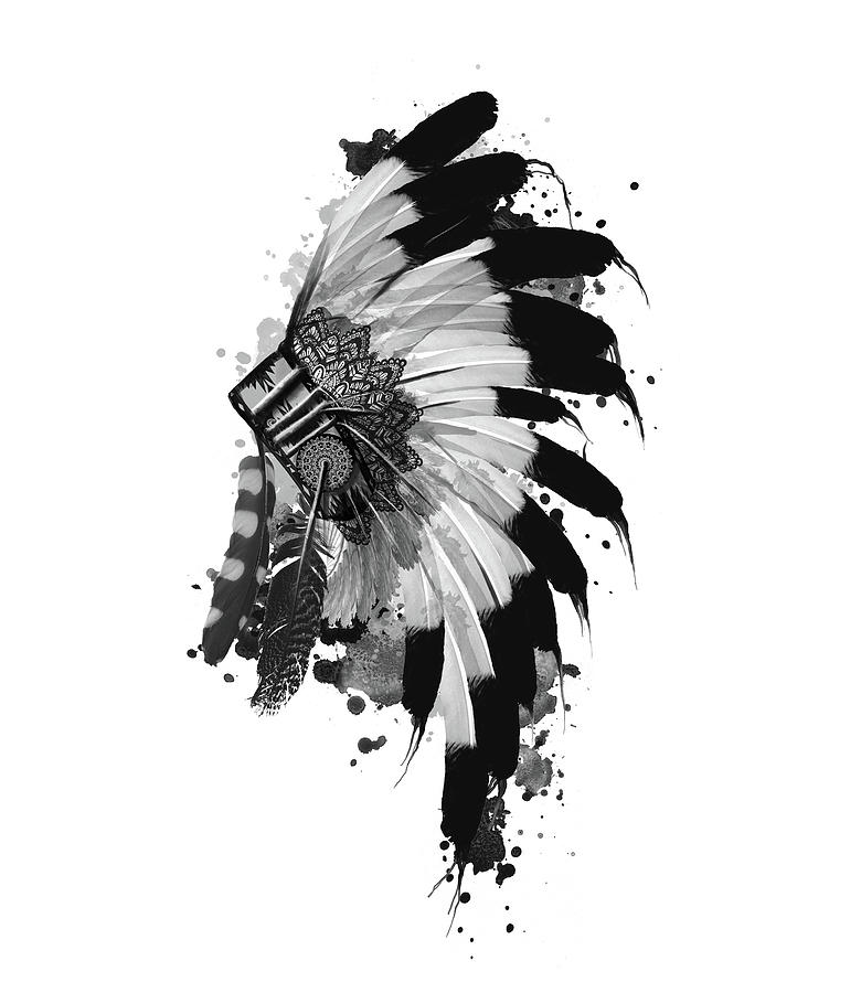 Feathers Digital Art - Native Headdress Black And White by Bekim M