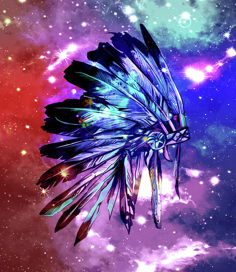 Native Headdress Space Digital Art