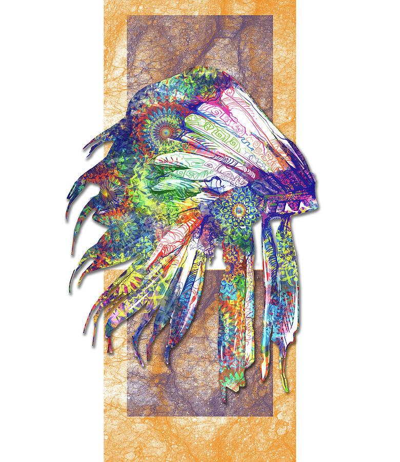 Feathers Digital Art - Native Mandala Headdress 3 by Bekim M