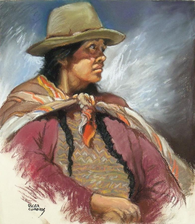 Native Peruvian Woman Painting by Oscar Cuadros