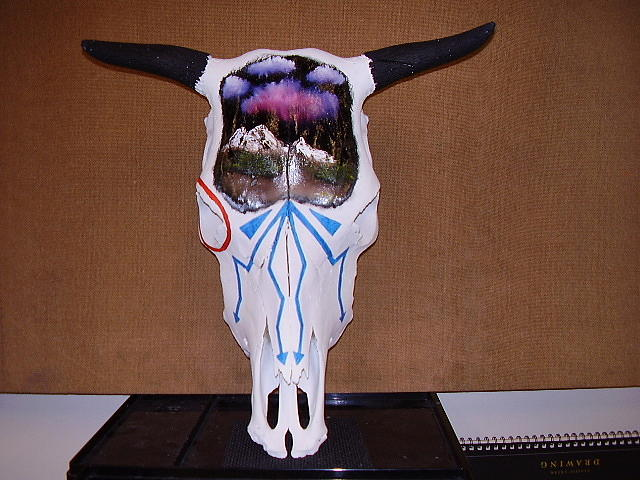 Skull Mixed Media - Native Skull by Spider Ryan