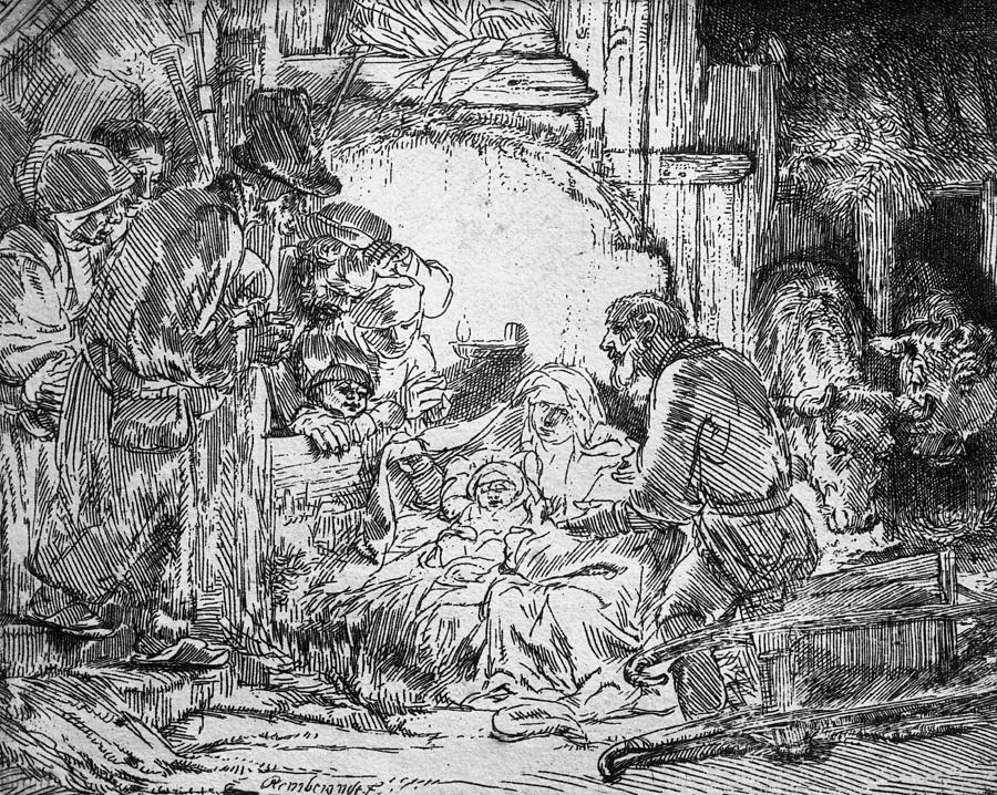 Nativity Drawing by Rembrandt